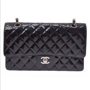 100% Authentic Chanel Enamel Shoulder Bag Black